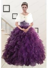 2015 Elegant Beading and Ruffles Quinceanera Dresses in Purple