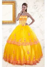 2015 Elegant Strapless Gold Quinceanera Dresses with Appliques