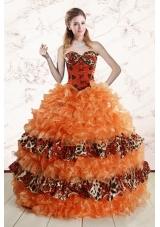 2015 Elegant Sweetheart Leopard Quinceanera Dresses in Orange
