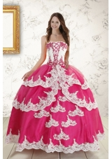 2015 Hot Pink Strapless Quinceanera Dresses with Appliques