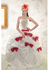 Elegant White Quinceanera Dresses with Beading and Bowknots For 2015