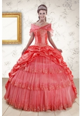 In Stock Appliques Quinceanera Dresses in Watermelon