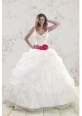 In Stock Halter Belt Beading White 2015 Quinceanera Dresses