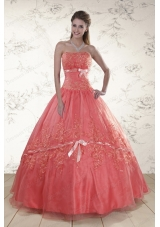 In Stock Sweetheart Appliques quinceanera dresses for 2015