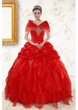 Most Popular Sweetheart Beading Cheap Quinceanera Dresses in Red