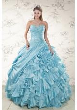 Fashionable Beading Ruffles Aqua Blue Organza Quinceanera Dresses for 2015
