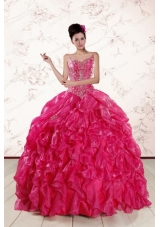Most Popular Spaghetti Straps Beading  Quinceanera Gowns in Hot Pink