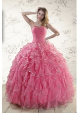 2015 New Style Beading Quinceanera Dresses in Rose Pink