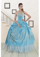 2015 New Style One Shoulder Appliques and Beaded Quinceanera Dresses in Aqua Blue