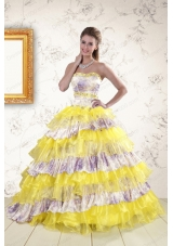 2015  New Style Printed and Ruffles Multi Color Quinceanera Dresses