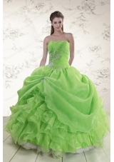 2015 New Style Puffy Strapless Appliques Quinceanera Dresses in Spring Green