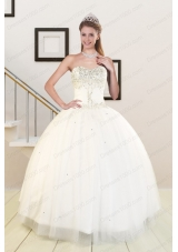 2015 New Style Sweetheart White Elegant Quinceanera Dresses with Beading