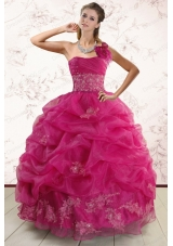 New Style One Shoulder Appliques and Pick Ups Quinceanera Dresses in Fuchsia