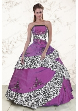 New Style Purple Quinceanera Dresses with Embroidery and Zebra