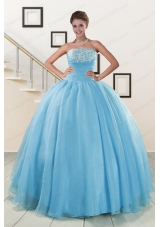 most popular Aqua Blue Super Hot Puffy  Quinceanera Gowns for 2015