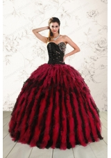 most popular Sweetheart Ruffles and Beaded Quinceanera Gowns in Red and Black