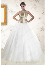 Most Popular Tulle Strapless Sequins White Quinceanera Gowns