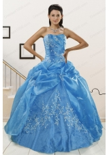 fashionable Baby Blue 2015 Quinceanera Dresses with Embroidery