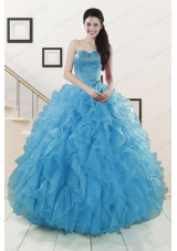 fashionable Beaded Quinceanera Dresses Ruffled in Blue