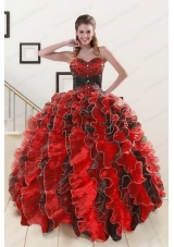 fashionable Beaded Sweetheart Organza Quinceanera Dress in Multi-color