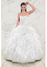 fashionable Beading and Ruffles 2015 Quinceanera Dresses in White