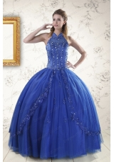 fashionable Royal Blue quinceanera dresses with Appliques and Beading for 2015