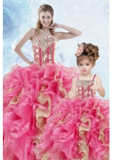 2015 Luxurious Beading and Ruffles Organza Princesita Dress in Multi-color