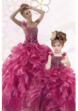 Modest Beading and Ruffles Fuchsia Princesita Dress for 2015