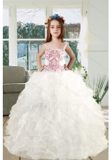 2015 Spaghetti Straps Embroidery Ruffles White Organza Little Girl Pageant Dress