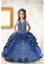 2015 Affordable Appliques and Pick Ups Little Girl Dress in Navy Blue