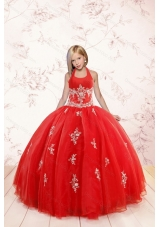 2015 Fashionable Appliques Red Little Girl Pageant Dress