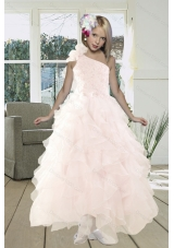 2015 Gorgeous A Line One Shoulder Baby Pink Flower Girl Dresses  with Beading and Ruffles