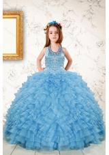 Fashionable Beading and Ruffles Little Girl Dress in Aqua Blue