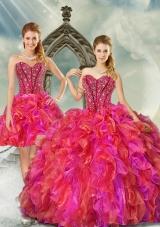 2015 Beading and Ruffles Multi Color Detachable and Vestidos de Quinceanera Dresses