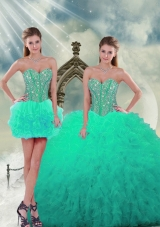 2015 Beading and Ruffles Detachable and Vestidos de Quinceanera Dresses in Apple Green