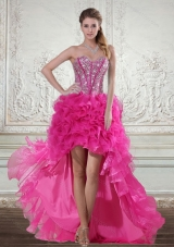 2015 Elegant Hot Pink High Low Sweetheart Prom Dresses with Beading and Ruffled Layers