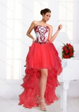 2015 Beautiful Coral Red High Low Prom Dresses with Embroidery and Beaded