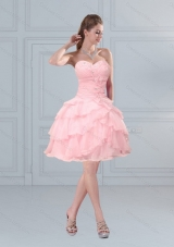 2015 Cute Baby Pink Sweetheart Beaded Prom Gown with Ruffled Layers