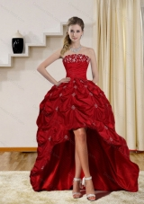 2015 Elegant Strapless Red Prom Dresses with Embroidery and Pick Ups