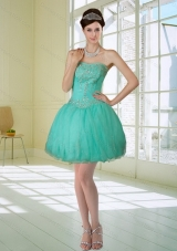 Apple Green Strapless 2015 Prom Dresses with Embroidery and Beading