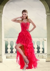 Coral Red Ball Gown Strapless High Low Prom Dresses with Ruffles and Beading