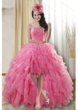 Pretty High Low Dresses for Quinceanera with Ruffles and Beading