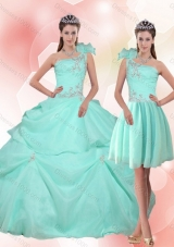 2015 Detachable Apple Green Quinceanera Dress with Appliques