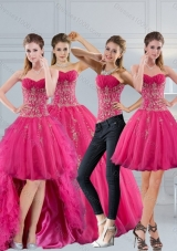 2015 Detachable Hot Pink Sweetheart Quinceanera Dress with Appliques and Beading