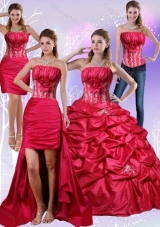 2015 Detachable Strapless Red Quinceanera Dress with Appliques and Pick Ups