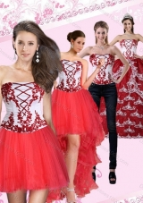 Detachable Multi Color Strapless Quinceanera Dress with Embroidery for 2015