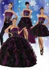 Detachable Multi Color Strapless Quinceanera Dress with Ruffles and Embroidery