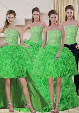Detachable Spring Green Strapless Quinceanera Dress with Beading and Ruffles