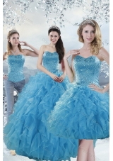 2015 Detachable Baby Blue Quince Dresses with Beading and Ruffles