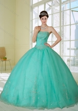 2015 Fashionable Appliques and Beading Quinceanera Dress in Apple Green